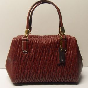 Coach Twisted Leather Mini Satchel Brick Red 49723